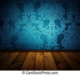 scherp, blauwe , ouderwetse , interieur, -, soortgelijk,...