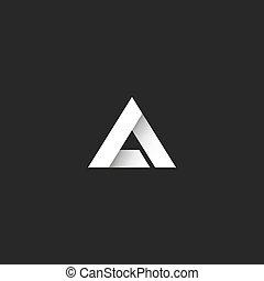 scherp, driehoek, geometrisch, helling, abstract, idee, overlapping, vorm, symbool, logo, streep, brief, delta, embleem, hoek, witte , of, stijl