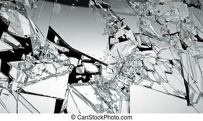 scherp, glas, gesloopte, stukken