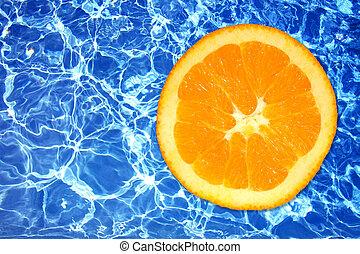 scherp, ijzig, water, en, sinaasappel, fruit