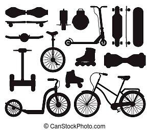 schets, alternatief, iconen, stad, gadgets, vervoeren