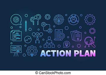 schets, banner., illustratie, vector, plan, actie, gekleurde