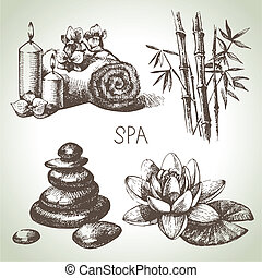 schets, beauty, ouderwetse , set., hand, spa, illustraties, getrokken, pictogram
