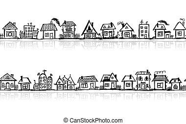 schets, behang, seamless, ontwerp, cityscape, jouw
