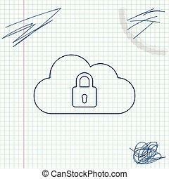 schets, bescherming, gegevensverwerking, slot, concept., witte , vrijstaand, illustratie, achtergrond., vector, lijn, pictogram, veiligheid, wolk, veiligheid