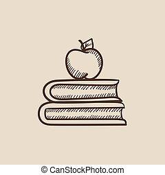 schets, bovenzijde, boekjes , appel, icon.