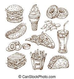 schets, broodje, room, pizza., hamburger, hapjes, dog, vasten, voedsel., voedingsmiddelen, warme, vector, ijs, getrokken, set, hand, frites, cola