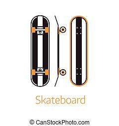schets, bureau, plank, moderne, lang, iconen