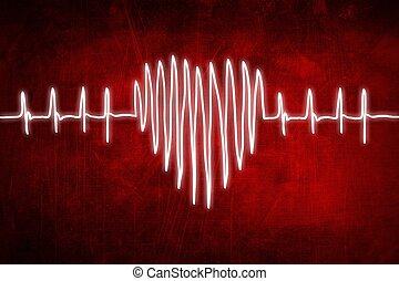 schets, cardiogram, tabel, hand, hartslag, tekening