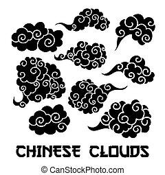 schets, communie, wolken, illustration., chinees, drawing.,...