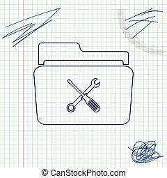 schets, computer, service., instellingen, technisch, teken., lijn, vrijstaand, illustratie, schroevendraaier, achtergrond., vector, map, moersleutel, witte , gereedschap, of, pictogram