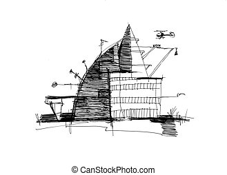 schets, concept, architecturaal