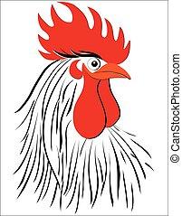 schets, concept, illustration., chinees, nieuw, haan, vector, jaar, getrokken, hand, vogel, rooster.