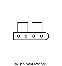 schets, conveyor, illustratie, vector, ontwerp, riem, pictogram