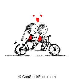 schets, cycling, paar, valentijn, ontwerp, samen, jouw
