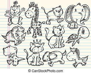schets, doodle, dieren, vector, set
