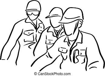 schets, doodle, harde werker, vrijstaand, illustratie, drie, vector, zwarte achtergrond, getrokken, witte , hand, hoedje, lijnen, ingenieur