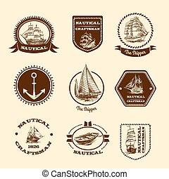 schets, emblems, nautisch