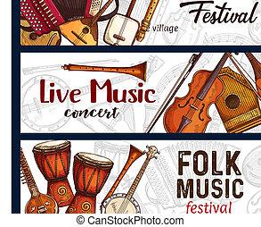 schets, festival., instrumenten, muziek, muzikalisch, folk-...