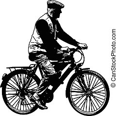 schets, fiets, bejaarden, illustratie, paardrijden, man