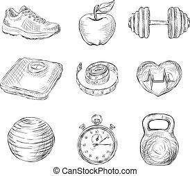schets, fitness, iconen