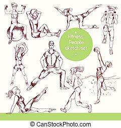 schets, fitness, mensen