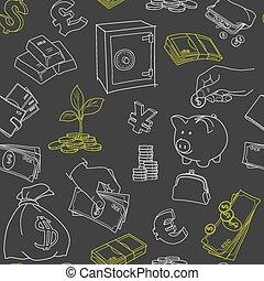 schets, geld, seamless, symbolen, vector, doodle, model