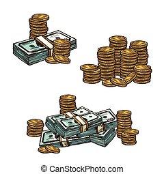 schets, geld valuta, papier, munt, stapel