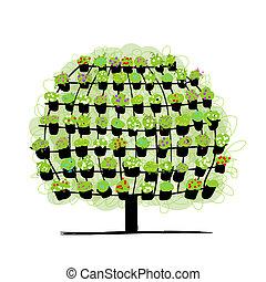 schets, gemaakt, boompje, potten, groene, floral ontwerpen, jouw