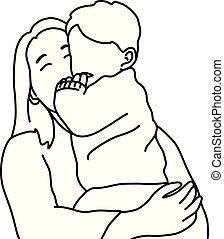 schets, gezin, lijnen, concept., vrijstaand, illustratie, hand, achtergrond., vector, black , vasthouden, moeder, baby, getrokken, witte