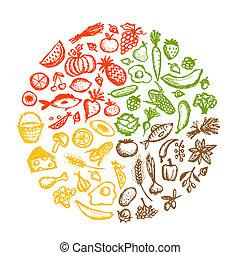 schets, gezond voedsel, achtergrond, ontwerp, jouw