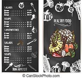 schets, gezonde , menu, vegetariër, krijt, voedingsmiddelen