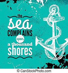 schets, grunge, illustration., reizen, nautisch, typografisch, hand, achtergrond., ontwerp, zee, textured, getrokken, design.