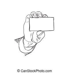 schets, hand houdend, visitekaartje