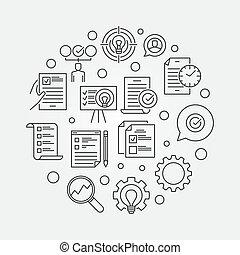 schets, handel illustratie, vector, plan, actie, circulaire
