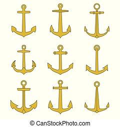 schets, iconen, collection., set., emblems, nautisch, marinier, tv nieuws