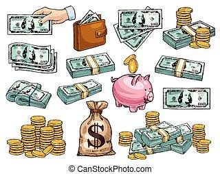 schets, iconen, geld, dollars, muntjes, vector