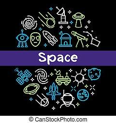schets, iconen, poster, ruimte, kosmisch, vector, raketten, satellieten