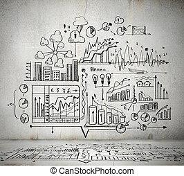 schets, ideeën, zakelijk