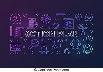 schets, illustratie, creatief, plan, actie, horizontaal, spandoek, of