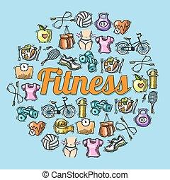 schets, illustratie, fitness
