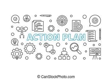 schets, illustratie, vector, plan, actie, horizontaal, spandoek, of