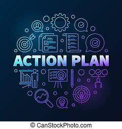 schets, illustratie, vector, plan, actie, ronde, gekleurde