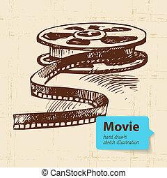 schets, illustration., film, hand, achtergrond, getrokken