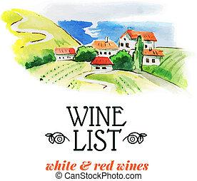 schets, illustration., hand, watercolor, list., getrokken, wijntje