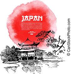 schets, illustration., sushi, japanner, hand, watercolor, getrokken