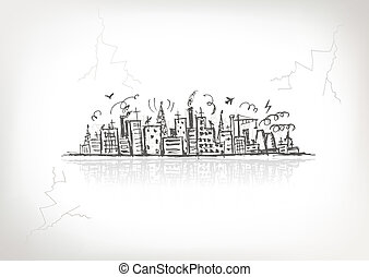 schets, industriebedrijven, tekening, ontwerp, cityscape,...