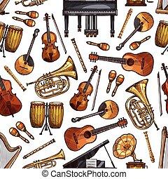schets, instrumenten, seamless, muziek, model, folk-music