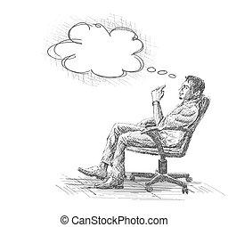 schets, kantoor, zittende , jonge, illustratie, hand, nadenkend, vector, chair., getrokken, zakenman