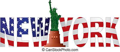 schets, kleur, tekst, ons vlag, york, nieuw